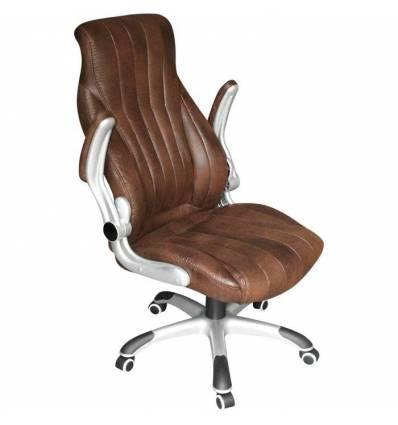 Кресло LMR-112B/brown для руководителя, экокожа, цвет коричневый античный