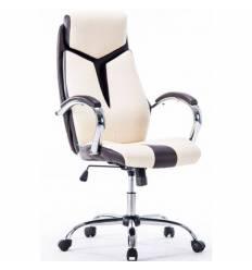 Кресло Бюрократ T-701/BG+BR для руководителя, черный/бежевый
