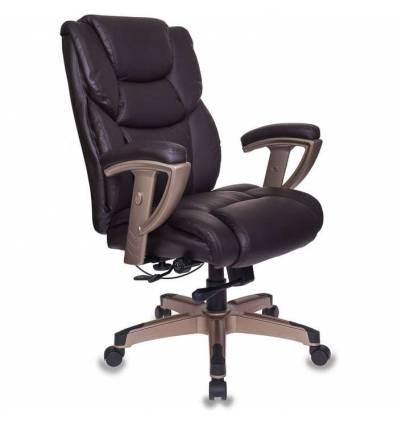Кресло Бюрократ T-9999/BROWN для руководителя, усиленное, кожа/кожзам, цвет коричневый
