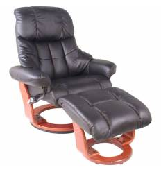 Кресло-реклайнер RELAX Lux 7438W Black, кожа, цвет черный