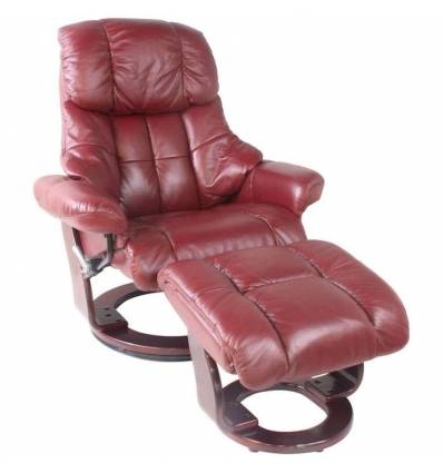 Кресло-реклайнер RELAX Lux 7438W Bordo, кожа, цвет бордовый