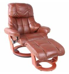 Кресло-реклайнер RELAX Lux 7438W Brown, кожа, цвет коричневый