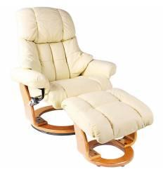Кресло-реклайнер RELAX Lux 7438W Ivory, кожа, цвет слоновая кость
