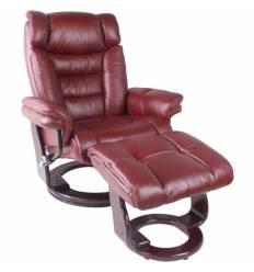 Кресло-реклайнер RELAX Zuel 7582W Bordo, кожа, цвет бордовый/венге