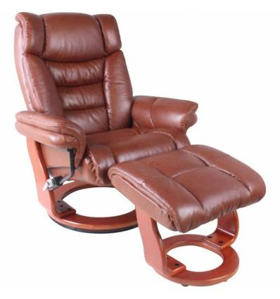 Кресло-реклайнер RELAX Zuel 7582W Brown, кожа, цвет коричневый/орех