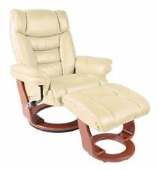 Кресло-реклайнер RELAX Zuel 7582W Ivory, кожа, цвет слоновая кость/орех
