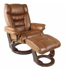 Кресло-реклайнер RELAX Zuel 7582W LtBrown, кожа, цвет светло-коричневый/темный орех