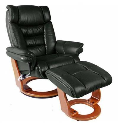 Кресло-реклайнер RELAX Zuel 7582W Black, кожа, цвет черный/орех