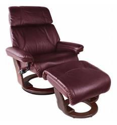 Кресло-реклайнер RELAX Piabora 7511W Bordo, кожа, цвет бордовый/венге