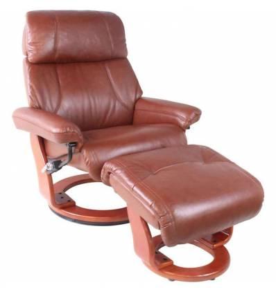 Кресло-реклайнер RELAX Piabora 7511W Brown, кожа, цвет коричневый/орех