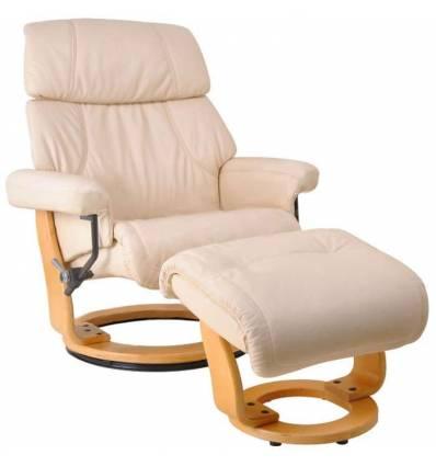 Кресло-реклайнер RELAX Piabora 7511W Ivory, кожа, цвет кремовый/карамель