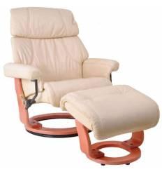 Кресло-реклайнер RELAX Piabora 7511W Ivory-2, кожа, цвет кремовый/орех