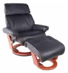 Кресло-реклайнер RELAX Piabora 7511W Black, кожа, цвет черный/орех