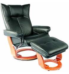 Кресло-реклайнер RELAX Mauris 7604W Green, кожа, цвет зеленый/орех