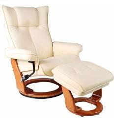 Кресло-реклайнер RELAX Mauris 7604W Ivory, кожа, цвет слоновая кость/орех