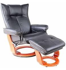 Кресло-реклайнер RELAX Mauris 7604W Black, кожа, цвет черный/орех