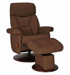 Кресло-реклайнер RELAX MASTER S14120 Brown, кожа, цвет коричневый/орех