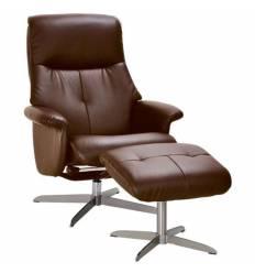 Кресло-реклайнер RELAX BOSS S14032 Brown, кожа, цвет коричневый