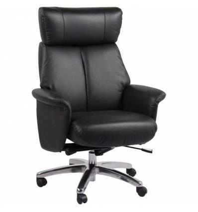 Кресло-реклайнер RELAX ROYAL 5158 Black на колесной базе, кожа, цвет черный