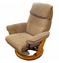 Кресло-реклайнер RELAX Rio 7651 BECCA, ткань, цвет бежевый/орех