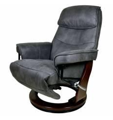 Кресло-реклайнер RELAX Rio 7651 DARK GREY, искусственный нубук, цвет темно-серый/темный орех