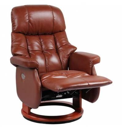 Электрореклайнер RELAX LUX ELECTRO Brown, кожа, цвет коричневый/орех