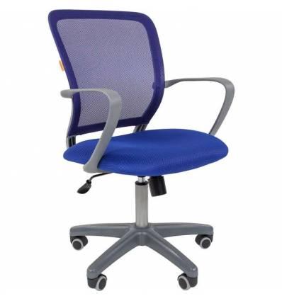 Кресло CHAIRMAN 698 GREY/BLUE для оператора, серый пластик, сетка/ткань, цвет синий