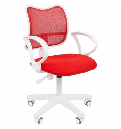 Кресло CHAIRMAN 450 LT WHITE/RED для оператора, белый пластик, сетка/ткань, цвет красный