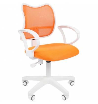 Кресло CHAIRMAN 450 LT WHITE/ORANGE для оператора, белый пластик, сетка/ткань, цвет оранжевый
