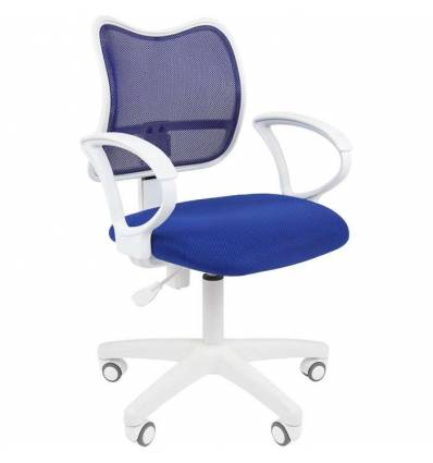 Кресло CHAIRMAN 450 LT WHITE/BLUE для оператора, белый пластик, сетка/ткань, цвет синий
