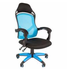 Кресло CHAIRMAN GAME 12/BLUE для руководителя (геймерское), сетка/ткань, цвет голубой/черный