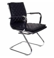 Кресло Бюрократ CH-991-LOW-V/BLACK для посетителя, экокожа, цвет черный