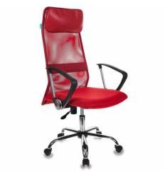 Кресло Бюрократ KB-6SL/R/TW-97N для руководителя, сетка/ткань, цвет красный