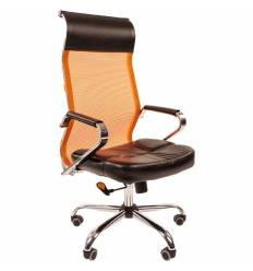 Кресло CHAIRMAN 700/ORANGE сетка для руководителя, сетка/экокожа, цвет оранжевый/черный