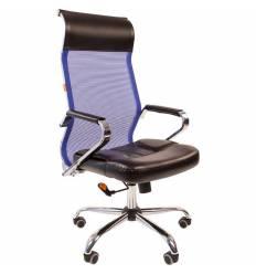Кресло CHAIRMAN 700/BLUE сетка для руководителя, сетка/экокожа, цвет синий/черный