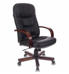 Кресло Бюрократ T-9908/WALNUT для руководителя, кожа, цвет черный