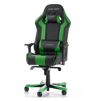 Кресло DXRacer OH/KS06/NE King Series, компьютерное, экокожа, цвет черный/зеленый