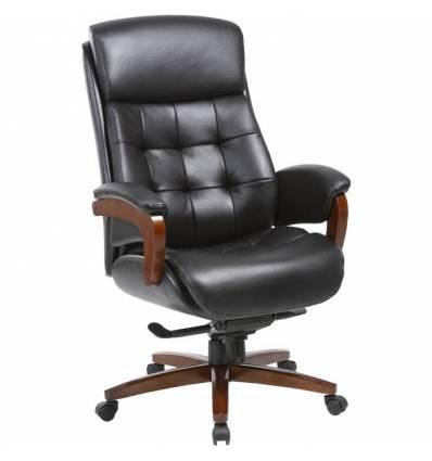 Кресло Бюрократ _MEGA/BLACK для руководителя, кожа, цвет черный