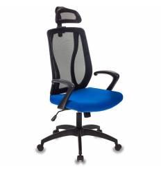 Кресло Бюрократ MC-411-H/B/26-21 для руководителя, сетка/ткань, цвет черный/синий