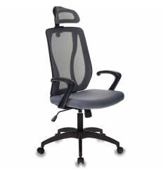 Кресло Бюрократ MC-411-H/DG/26-25 для руководителя, сетка/ткань, цвет черный/серый