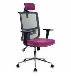 Кресло Бюрократ MC-612-H/DG/BERRY для руководителя, сетка/ткань, цвет серый/розовый
