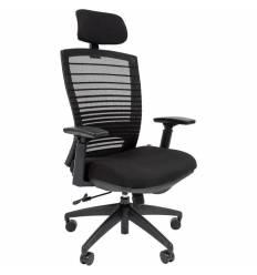 Кресло CHAIRMAN 285/Black для руководителя, сетка/ткань, цвет черный