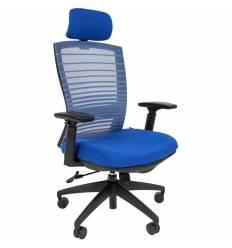 Кресло CHAIRMAN 285/Blue для руководителя, сетка/ткань, цвет синий