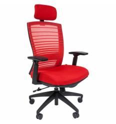 Кресло CHAIRMAN 285/Red для руководителя, сетка/ткань, цвет красный