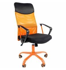 Кресло CHAIRMAN 610 CMet/ORANGE для руководителя, сетка/ткань, цвет оранжевый/черный