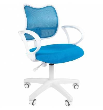 Кресло CHAIRMAN 450 LT WHITE/L.BLUE для оператора, белый пластик, сетка/ткань, цвет голубой