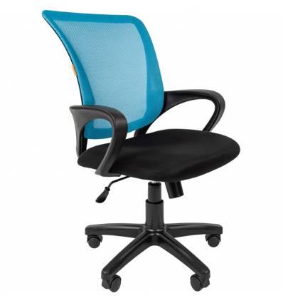 Кресло CHAIRMAN 969/L.BLUE для оператора, сетка/ткань, цвет голубой/черный