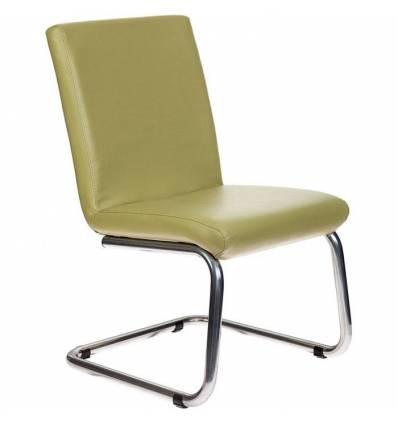 Кресло Бюрократ CH-250-V/GREEN для посетителя, хром, экокожа, цвет зеленый