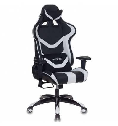 Кресло Бюрократ CH-772N/BL+WHITE игровое, экокожа, черный/белый