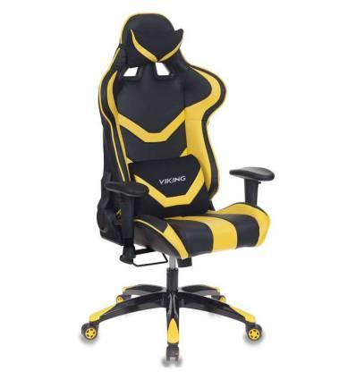 Кресло Бюрократ CH-772N/BL+YELLOW игровое, экокожа, черный/желтый